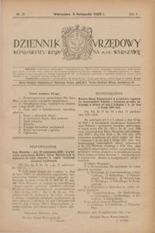 Dziennik Urzędowy Komisarjatu Rządu na M. St. Warszawę. R.1, № 30 (6 listopada 1920)