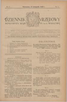 Dziennik Urzędowy Komisarjatu Rządu na M. St. Warszawę. R.1, № 31 (13 listopada 1920)