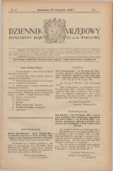 Dziennik Urzędowy Komisarjatu Rządu na M. St. Warszawę. R.1, № 33 (27 listopada 1920)