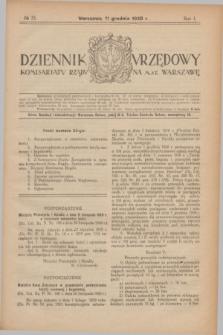 Dziennik Urzędowy Komisarjatu Rządu na M. St. Warszawę. R.1, № 35 (11 grudnia 1920)