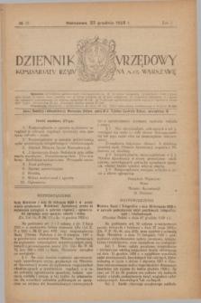 Dziennik Urzędowy Komisarjatu Rządu na M. St. Warszawę. R.1, № 37 (23 grudnia 1920)