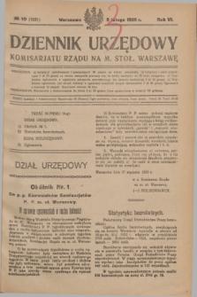 Dziennik Urzędowy Komisarjatu Rządu na M. Stoł. Warszawę. R.6, № 10 (5 lutego 1925) = № 1031