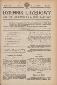 Dziennik Urzędowy Komisarjatu Rządu na M. Stoł. Warszawę. R.6, № 21 (20 marca 1925) = № 1042
