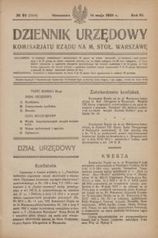 Dziennik Urzędowy Komisariatu Rządu na M. Stoł. Warszawę. R.6, № 33 (14 maja 1925) = № 1054