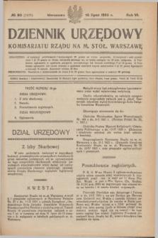 Dziennik Urzędowy Komisariatu Rządu na M. Stoł. Warszawę. R.6, № 50 (16 lipca 1925) = № 1071