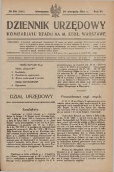 Dziennik Urzędowy Komisariatu Rządu na M. Stoł. Warszawę. R.6, № 60 (20 sierpnia 1925) = № 1081