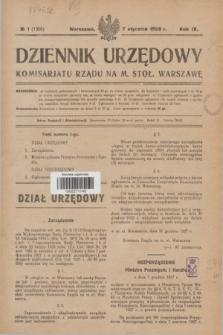 Dziennik Urzędowy Komisariatu Rządu na M. Stoł. Warszawę R.9, № 1 (7 stycznia 1928) = № 1306