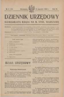 Dziennik Urzędowy Komisarjatu Rządu na M. Stoł. Warszawę. R.9, № 3 (14 stycznia 1928) = № 1308