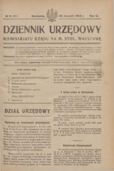 Dziennik Urzędowy Komisarjatu Rządu na M. Stoł. Warszawę. R.9, № 6 (28 stycznia 1928) = № 1311