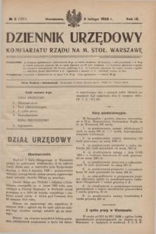 Dziennik Urzędowy Komisarjatu Rządu na M. Stoł. Warszawę. R.9, № 8 (8 lutego 1928) = № 1313