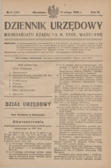 Dziennik Urzędowy Komisarjatu Rządu na M. Stoł. Warszawę. R.9, № 9 (11 lutego 1928) = № 1314