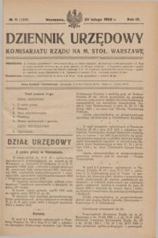 Dziennik Urzędowy Komisarjatu Rządu na M. Stoł. Warszawę. R.9, № 11 (22 lutego 1928) = № 1316
