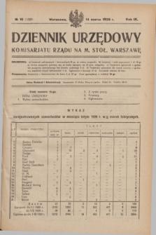 Dziennik Urzędowy Komisarjatu Rządu na M. Stoł. Warszawę. R.9, № 15 (14 marca 1928) = № 1320
