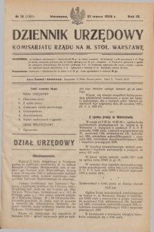 Dziennik Urzędowy Komisarjatu Rządu na M. Stoł. Warszawę. R.9, № 16 (21 marca 1928) = № 1321