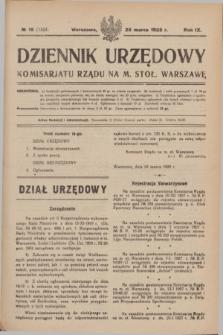 Dziennik Urzędowy Komisarjatu Rządu na M. Stoł. Warszawę. R.9, № 18 (28 marca 1928) = № 1323
