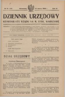 Dziennik Urzędowy Komisarjatu Rządu na M. Stoł. Warszawę. R.9, № 19 (31 marca 1928) = № 1324