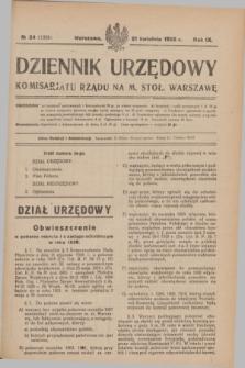 Dziennik Urzędowy Komisarjatu Rządu na M. Stoł. Warszawę. R.9, № 24 (21 kwietnia 1928) = № 1329