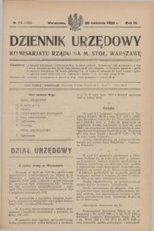 Dziennik Urzędowy Komisarjatu Rządu na M. Stoł. Warszawę. R.9, № 25 (25 kwietnia 1928) = № 1330
