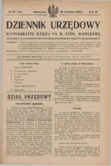 Dziennik Urzędowy Komisarjatu Rządu na M. Stoł. Warszawę. R.9, № 26 (28 kwietnia 1928) = № 1331