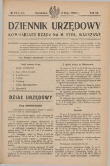 Dziennik Urzędowy Komisarjatu Rządu na M. Stoł. Warszawę. R.9, № 27 (8 maja 1928) = № 1332