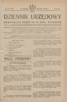 Dziennik Urzędowy Komisarjatu Rządu na M. Stoł. Warszawę. R.9, № 31 (26 maja 1928) = № 1336