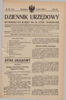 Dziennik Urzędowy Komisarjatu Rządu na M. St. Warszawę. R.9, № 40 (4 lipca 1928) = № 1345