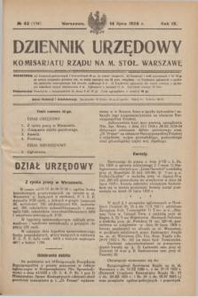 Dziennik Urzędowy Komisarjatu Rządu na M. Stoł. Warszawę. R.9, № 42 (14 lipca 1928) = № 1347
