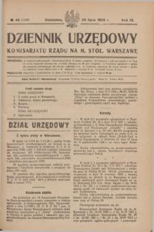 Dziennik Urzędowy Komisarjatu Rządu na M. Stoł. Warszawę. R.9, № 43 (25 lipca 1928) = № 1348