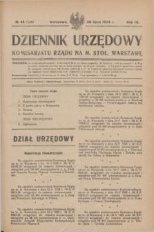 Dziennik Urzędowy Komisarjatu Rządu na M. Stoł. Warszawę. R.9, № 44 (28 lipca 1928) = № 1349
