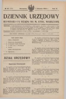 Dziennik Urzędowy Komisarjatu Rządu na M. Stoł. Warszawę. R.9, № 45 (1 sierpnia 1928) = № 1350