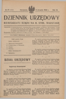 Dziennik Urzędowy Komisarjatu Rządu na M. Stoł. Warszawę. R.9, № 47 (8 sierpnia 1928) = № 1352