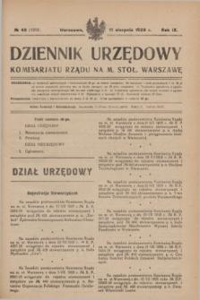 Dziennik Urzędowy Komisarjatu Rządu na M. Stoł. Warszawę. R.9, № 48 (11 sierpnia 1928) = № 1353