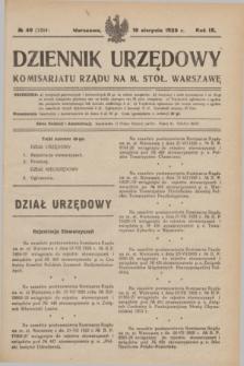Dziennik Urzędowy Komisarjatu Rządu na M. Stoł. Warszawę. R.9, № 49 (18 sierpnia 1928) = № 1354