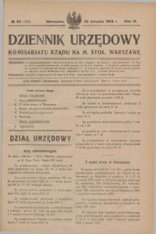 Dziennik Urzędowy Komisarjatu Rządu na M. Stoł. Warszawę. R.9, № 53 (22 sierpnia 1928) = № 1358