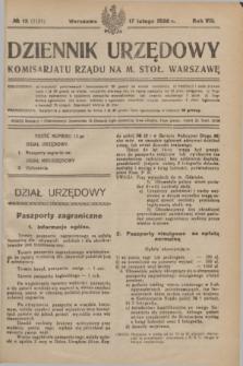 Dziennik Urzędowy Komisarjatu Rządu na M. Stoł. Warszawę. R.7, № 13 (17 lutego 1926) = № 1131 + dod.
