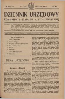 Dziennik Urzędowy Komisarjatu Rządu na M. Stoł. Warszawę. R.7, № 25 (31 marca 1926) = № 1143