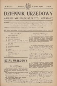 Dziennik Urzędowy Komisarjatu Rządu na M. Stoł. Warszawę. R.7, № 95 (11 grudnia 1926) = № 1213