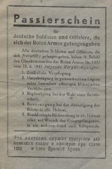 Passierschein für deutsche Soldaten und Offiziere, die sich der Roten Armee gefangengeben : Freude am friedlichen Schaffen!