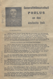 Generalfeldmarschall Paulus an das deutsche Volk
