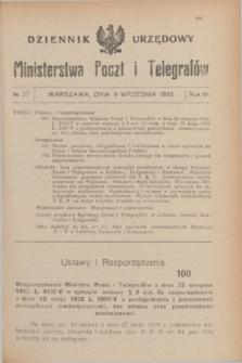 Dziennik Urzędowy Ministerstwa Poczt i Telegrafów. R.4, № 37 (9 września 1922)