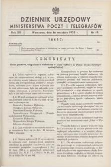 Dziennik Urzędowy Ministerstwa Poczt i Telegrafów. R.20, nr 19 (16 września 1938)