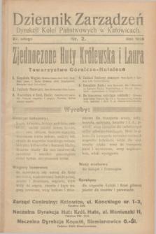 Dziennik Zarządzeń Dyrekcji Kolei Państwowych w Katowicach. 1928, nr 2 (27 lutego)