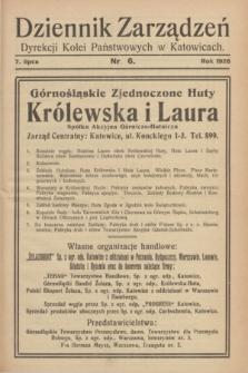 Dziennik Zarządzeń Dyrekcji Kolei Państwowych w Katowicach. 1928, nr 6 (7 lipca)