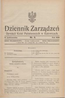 Dziennik Zarządzeń Dyrekcji Kolei Państwowych w Katowicach. 1928, nr 9 (9 października)
