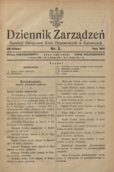 Dziennik Zarządzeń Dyrekcji Okręgowej Kolei Państwowych w Katowicach. 1931, nr 2 (28 lutego)