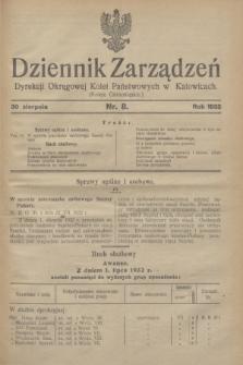 Dziennik Zarządzeń Dyrekcji Okręgowej Kolei Państwowych w Katowicach. 1932, nr 8 (30 sierpnia)