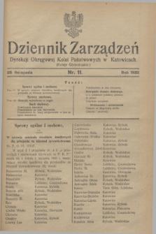 Dziennik Zarządzeń Dyrekcji Okręgowej Kolei Państwowych w Katowicach. 1932, nr 11 (25 listopada)