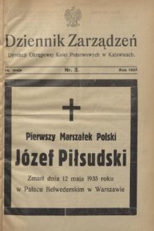 Dziennik Zarządzeń Dyrekcji Okręgowej Kolei Państwowych w Katowicach. 1935, nr 3 (14 maja)