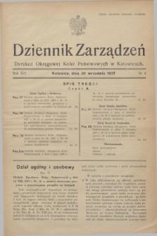 Dziennik Zarządzeń Dyrekcji Okręgowej Kolei Państwowych w Katowicach. R.16, nr 4 (30 września 1937)