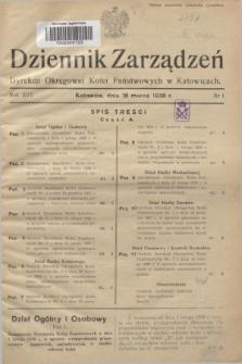 Dziennik Zarządzeń Dyrekcji Okręgowej Kolei Państwowych w Katowicach. R.17, nr 1 (18 marca 1938)